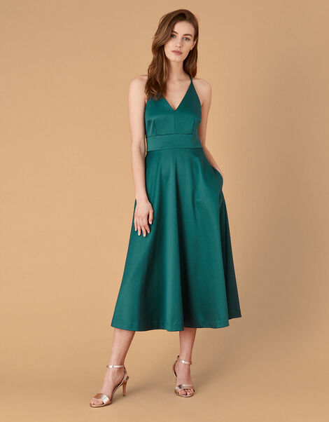 Stevie Structured Cross-Strap Midi Dress Teal, Teal (TEAL), large