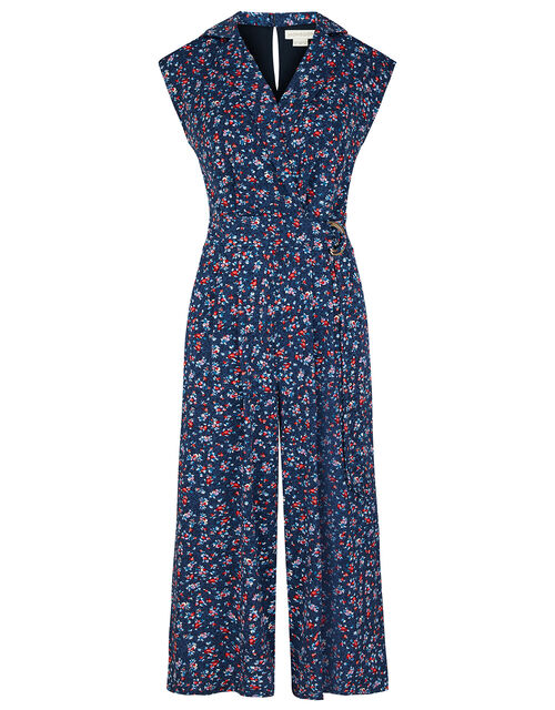 Dione Ditsy Floral Jersey Jumpsuit, Blue (NAVY), large