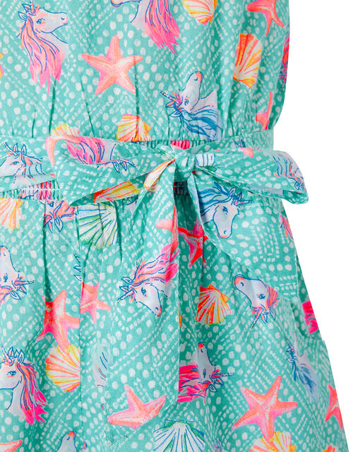 Laverna Unicorn Print Playsuit in Organic Cotton, Blue (TURQUOISE), large