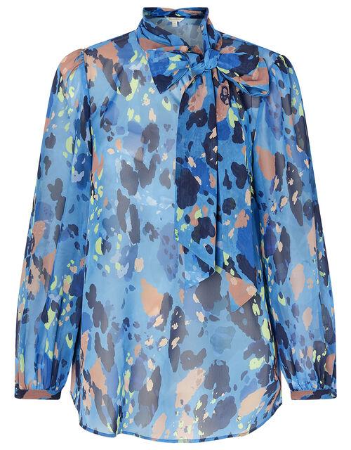 Anita Animal Print Pussybow Blouse, Blue (BLUE), large