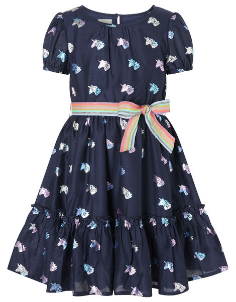 Unicorn and Rainbow Dress Blue, Blue (NAVY), large