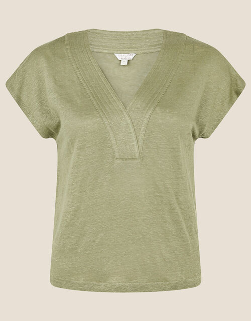 Lenny Woven Mix Top in Linen Blend, Green (KHAKI), large