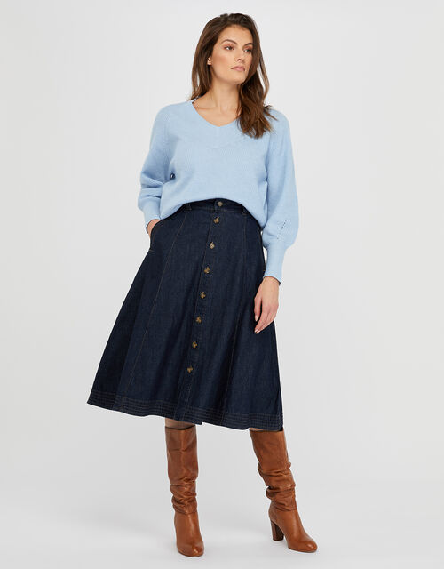 Thea Denim Midi Skirt in Organic Cotton, Blue (DENIM BLUE), large