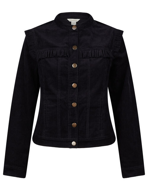 Cord Frill Jacket, Black (BLACK), large