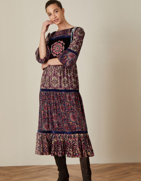 Nina Patchwork Heritage Dress Multi, Multi (MULTI), large