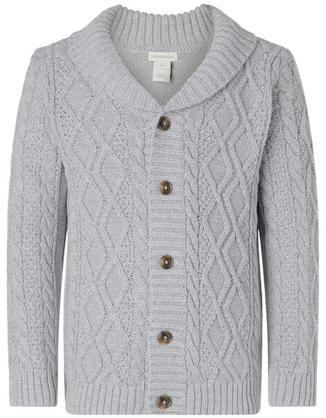 Cable Knit Cardigan Grey, Grey (GREY), large