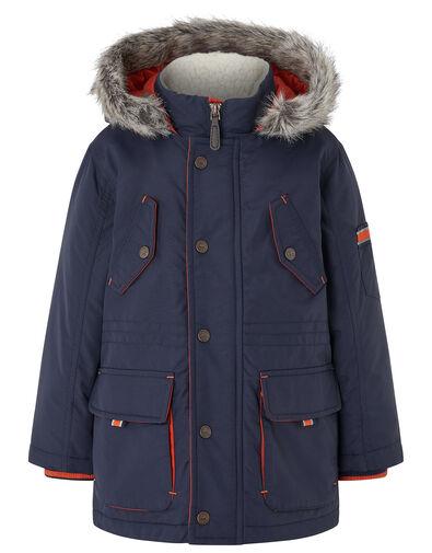 Boys Parka Coat with Hood Blue, Blue (NAVY), large
