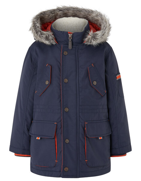 Boys Parka Coat with Hood Blue, Blue (NAVY), large