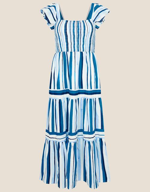 Stripe Tiered Midi Dress, Blue (BLUE), large