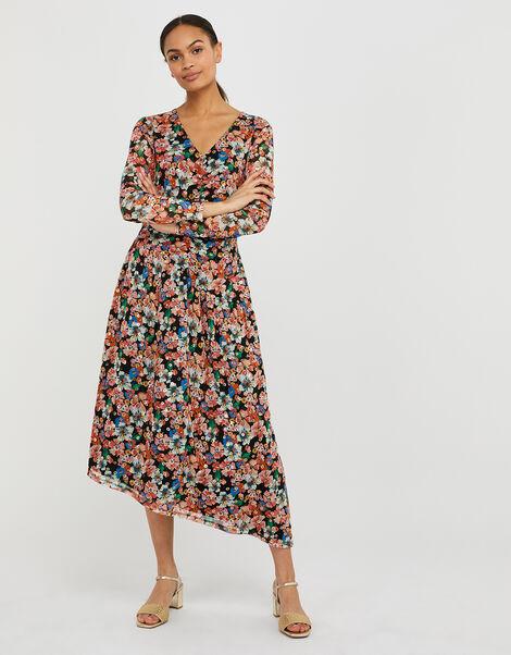 Flore Floral Mesh Asymmetric Hem Dress Multi, Multi (MULTI), large