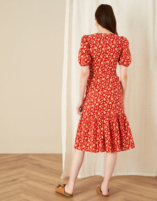 Floral Print Tiered Midi Dress , Red (RED), large