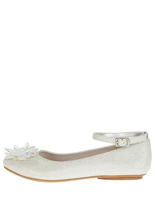 Crystal Shimmer Ballerina Flats, Silver (SILVER), large