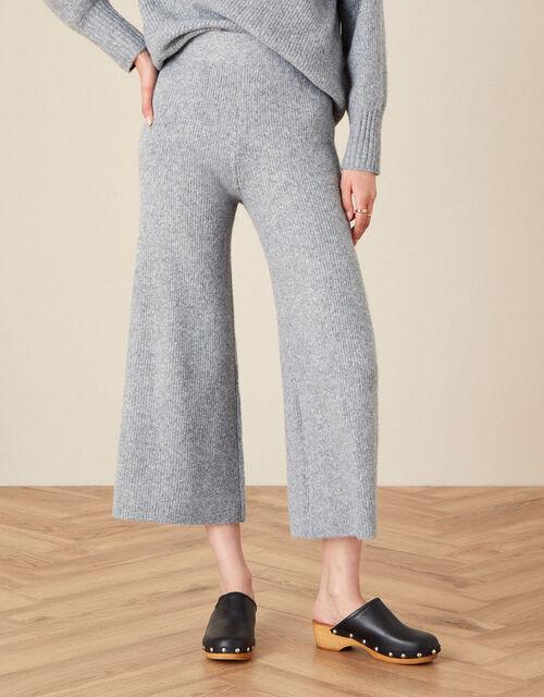 LOUNGE Wide Leg Knit Trousers, Grey (GREY MARL), large