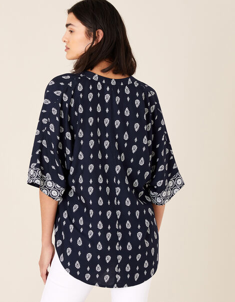 Heritage Print Top in LENZING™ ECOVERO™ Blue, Blue (NAVY), large
