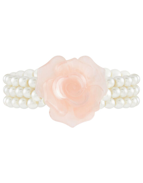 Rose and Pearl Stretch Bracelet, , large