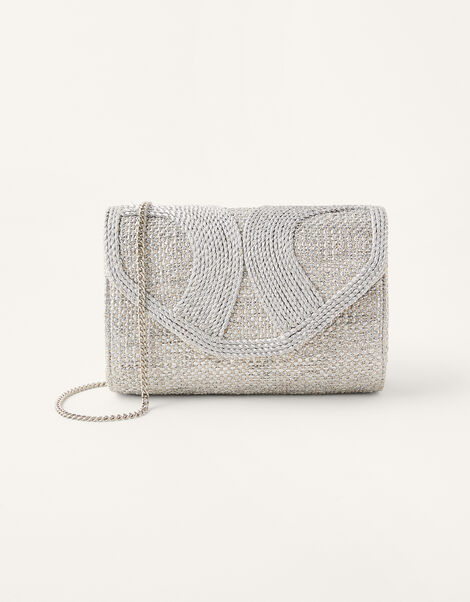 Metallic Rope Envelope Clutch Bag , , large