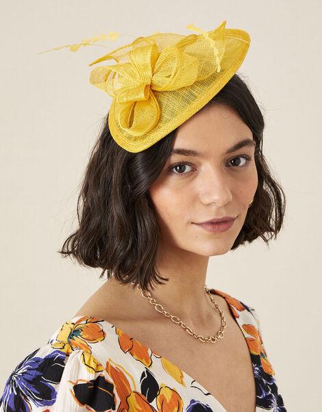 Bow Small Disc Fascinator Headband Yellow, Yellow (OCHRE), large