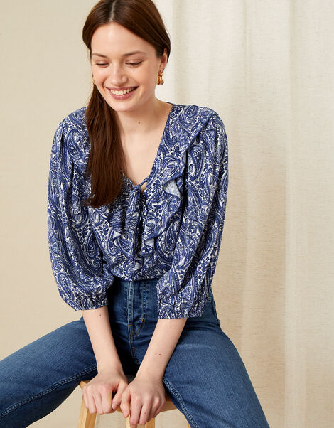 Paisley Ruffle Neck Top Blue, Blue (BLUE), large