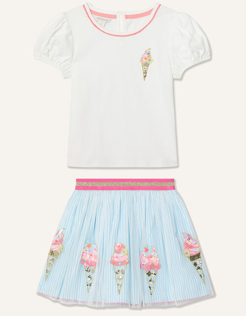 Disco Ice-Cream Top and Skirt Set , Blue (BLUE), large