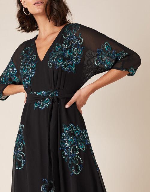 Daisy Peacock Embellished Midi Dress, Black (BLACK), large