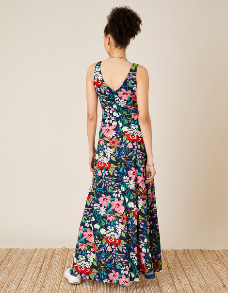 Nicole Floral Slinky Jersey Maxi Dress Blue, Blue (NAVY), large