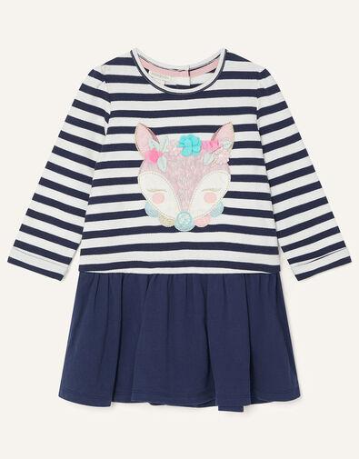 Baby Fox Stripe Sweat Dress Blue, Blue (NAVY), large