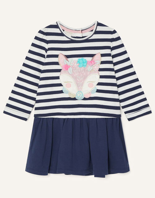 Baby Fox Stripe Sweat Dress, Blue (NAVY), large