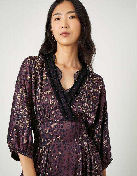 Luna Lace Animal Print Dress Brown, Brown (CHOCOLATE), large