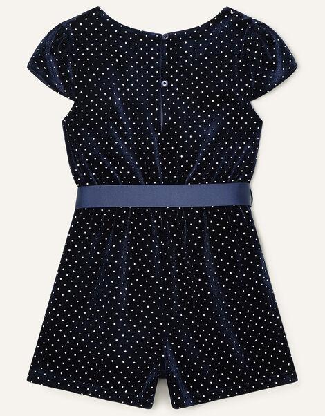 Nora Studded Velvet Playsuit Blue, Blue (NAVY), large