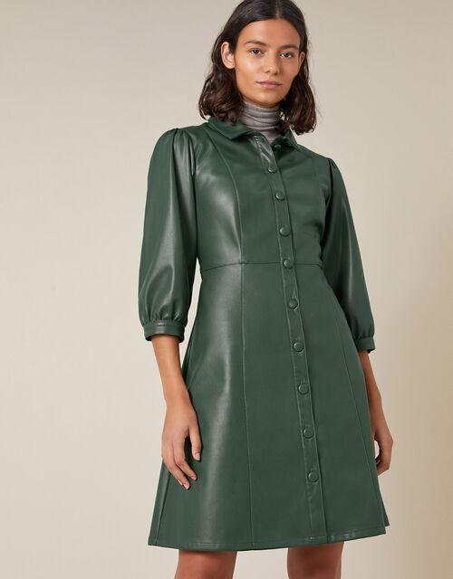 Leather-Look Puff Sleeve Dress, Green (DARK GREEN), large
