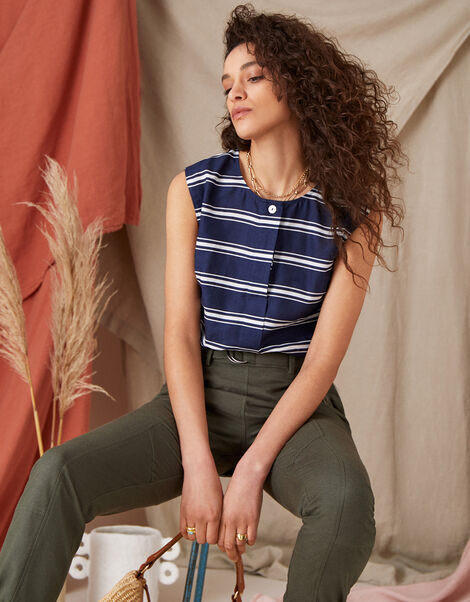 Stripe Sleeveless Top in Linen Blend Blue, Blue (NAVY), large