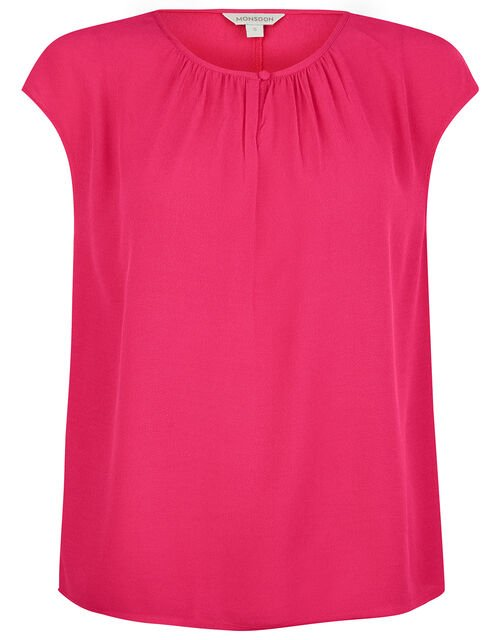 Short Sleeve Blouse with LENZING™ ECOVERO™, Pink (PINK), large