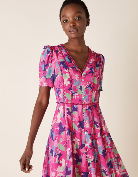 Aluna Floral Dress in Sustainable Viscose Pink, Pink (PINK), large