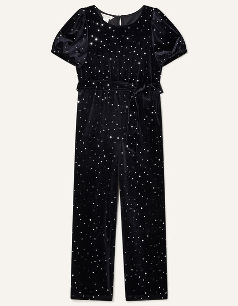 Spot Velvet Jumpsuit Black, Black (BLACK), large