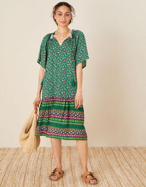 Paisley Print Tunic Dress Green, Green (GREEN), large