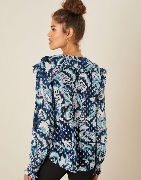 Briony Shimmer Butterfly Blouse Blue, Blue (NAVY), large