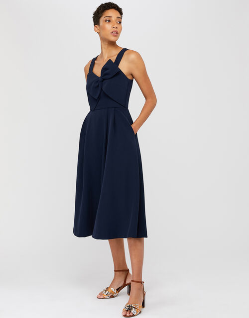 Alexa Bow Fit and Flare Dress, Navy, large