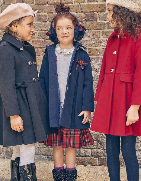 Bow Brooch Swing Coat Blue, Blue (NAVY), large