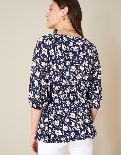 Mid Scale Floral Print V-Neck Jersey Top Blue, Blue (NAVY), large