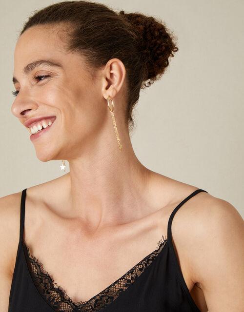 Star Tassel Hoop Earrings, , large