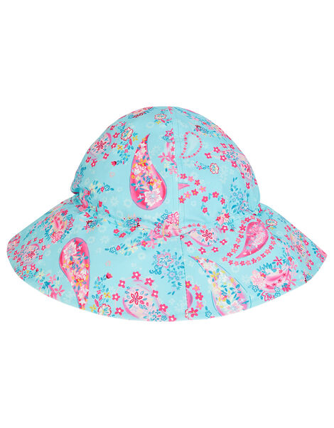 Baby Paisley Print Sun Hat Blue, Blue (TURQUOISE), large