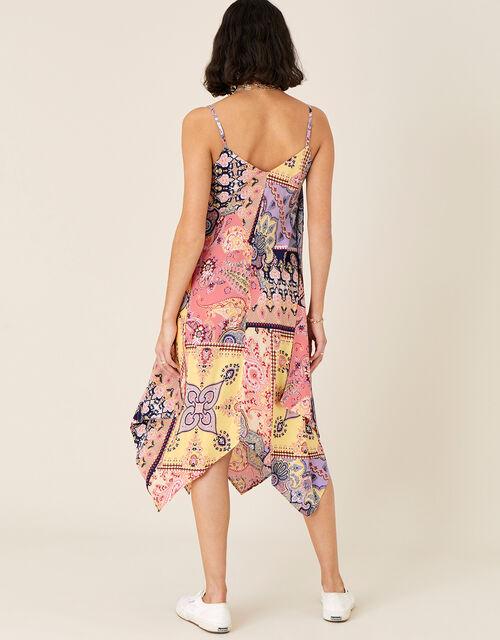 Scarf Print Hanky Hem Dress, Orange (CORAL), large