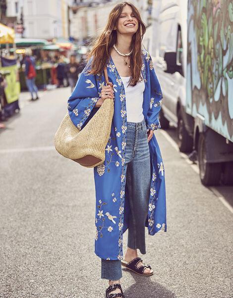 Bailee Bird Embroidered Kimono Blue, Blue (BLUE), large
