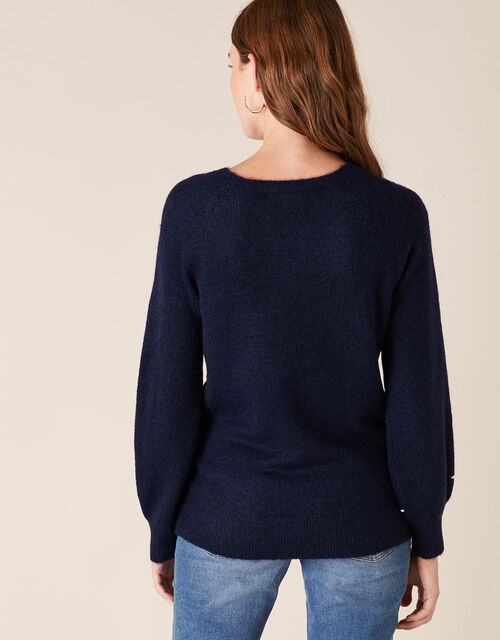 Abstract Wave Cornelli Knit Jumper, Blue (NAVY), large