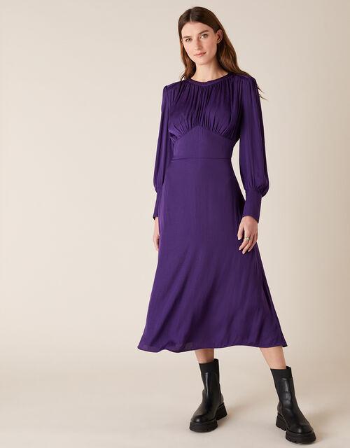 Long Sleeve Satin Midi Dress, Purple (PURPLE), large