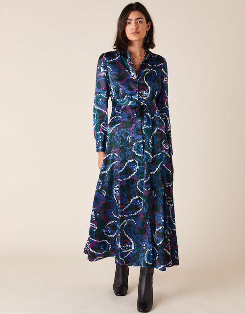 Paisley Print Satin Shirt Dress, Blue (NAVY), large