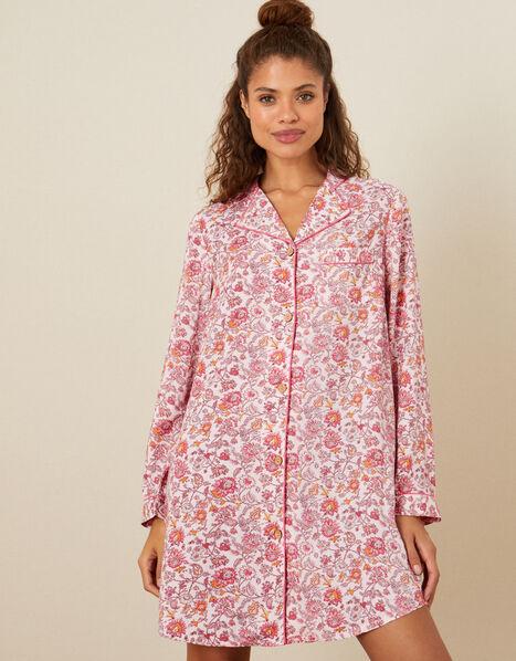 Floral Night Dress Pink, Pink (BLUSH), large