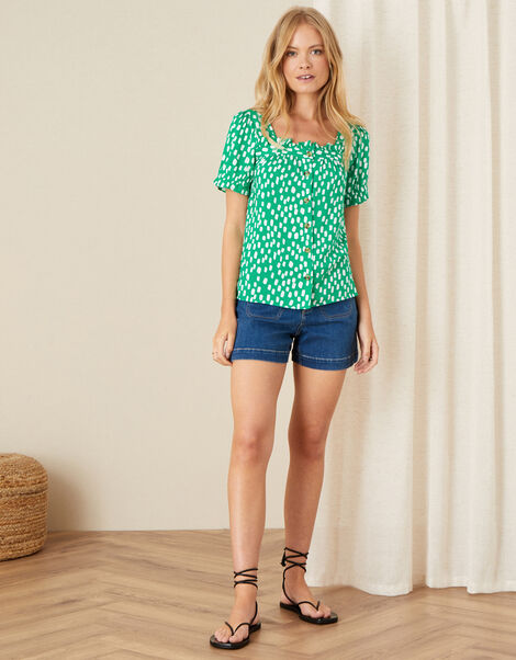 Square Neck Printed Top Green, Green (GREEN), large