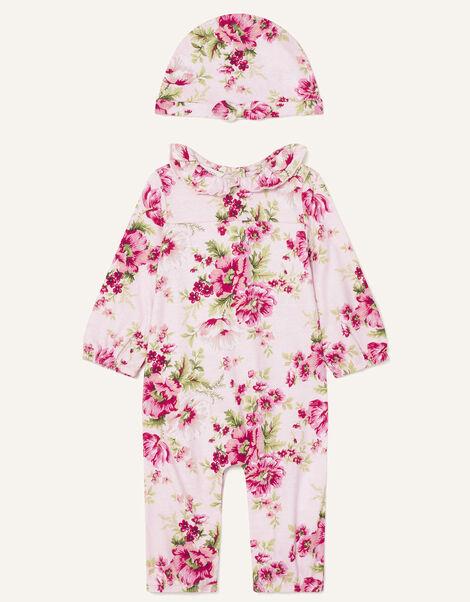Newborn Floral Sleepsuit and Hat Set Pink, Pink (PINK), large