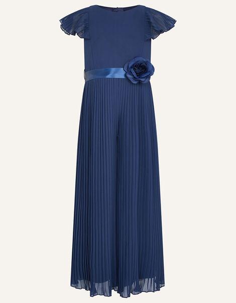 Sunray Corsage Pleated Jumpsuit Blue, Blue (NAVY), large